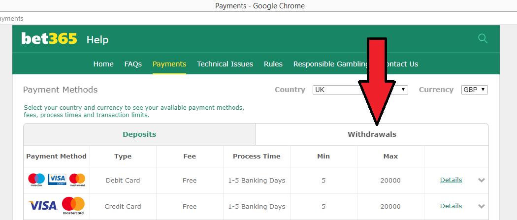 bet365 deposit withdrawal